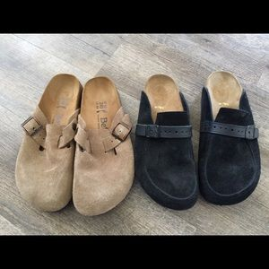 Birkenstock and betula suede clog black taupe tan